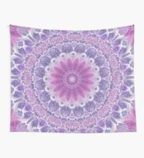 Purple and Pink Fractal Mandala Wall Tapestry
