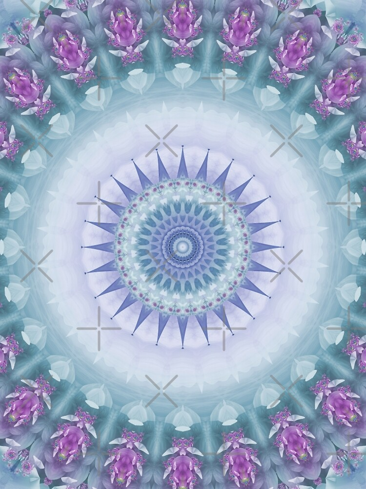Violet Flowers Mandala in Purple, Blue, Green and White by kellydietrich