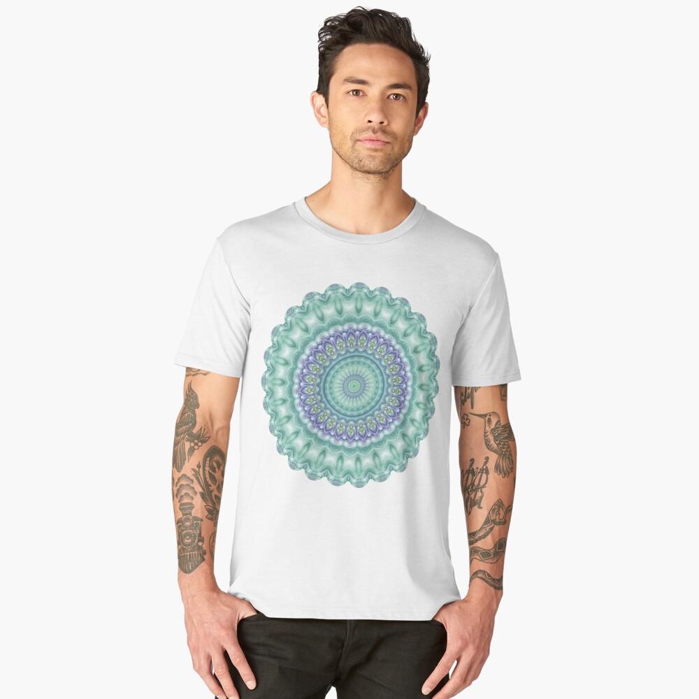 Bright Green and Purple Mandala of Balance Men's Premium T-Shirt Front