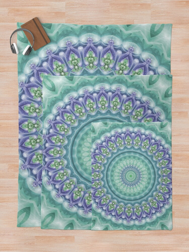 Alternate view of Bright Green and Purple Mandala of Balance Throw Blanket
