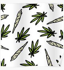 marijuana leaf and spliff (cannabis cigarette) Poster
