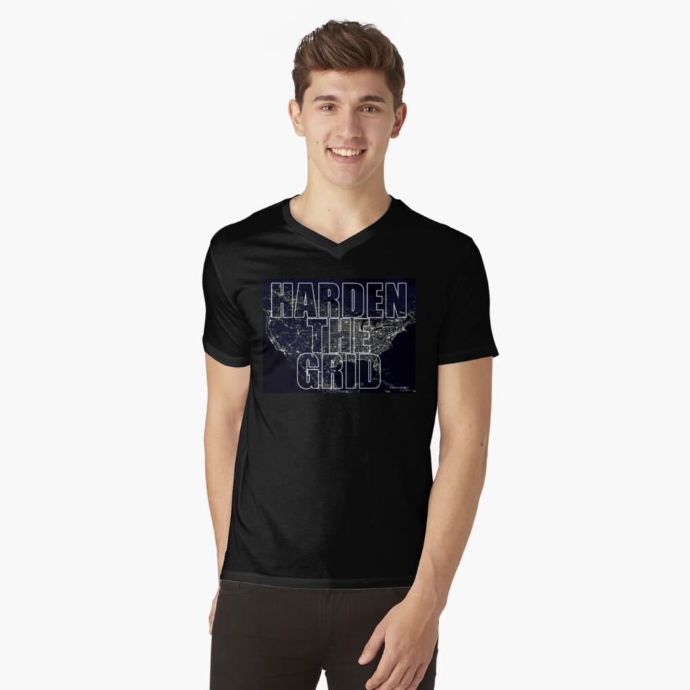 Harden The Grid Mens V-Neck T-Shirt Front
