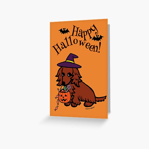 Cute Halloween Dachshund Witch's Hat Greeting Card