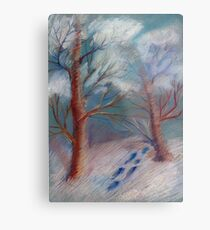 Winter in the technique of dry pastels Metal Print
