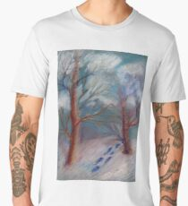 Winter in the technique of dry pastels Men's Premium T-Shirt
