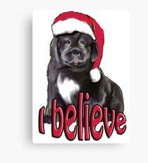 Christmas Newfy Puppy Canvas Print