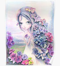 Hydrangea. Watercolor Poster