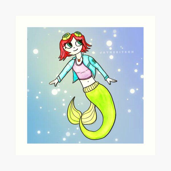 Scott Pilgrim Ramona Flowers Ariel Mermaid Mashup by Jayne Kitsch Art Print