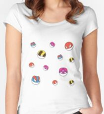 Voltorb pattern Women's Fitted Scoop T-Shirt