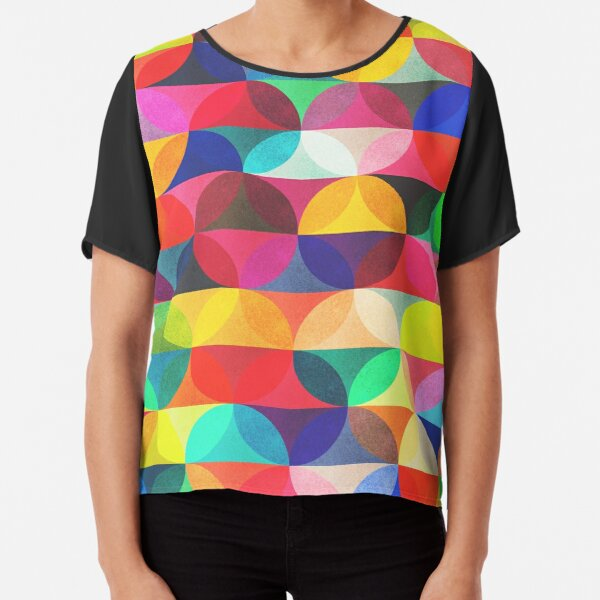 T-Shirt 3D Printed Geometric Abstract Colorful Shapes of Dots and Circles Hexagonal Composi Casual Tees