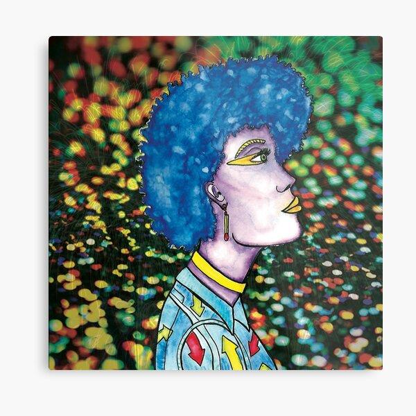 Afro Match Stick Fireworks Girl by Jayne Kitsch Metal Print