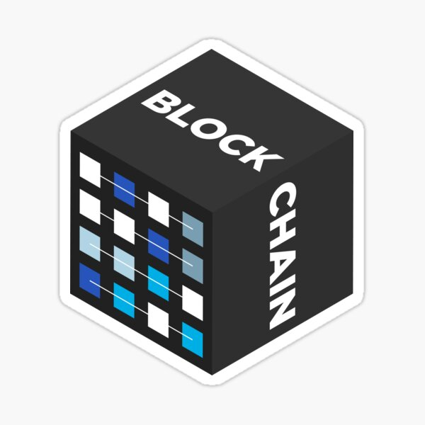 BLOCKCHAIN BLACK Square Sticker