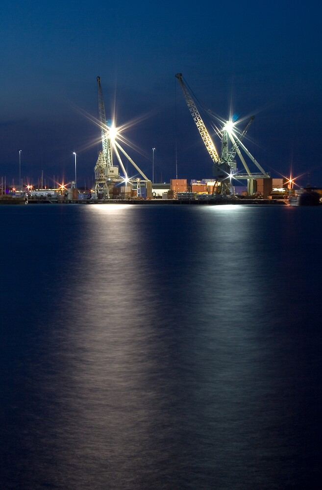 Cranes at St Peter Port Harbour by Karen Millard