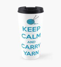 Knitting Gifts for Knitters | Keep Calm and Carry Yarn | Crochet Lovers Travel Mug