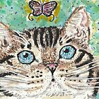 Bengal  cat  and butterfly watercolor painting by passsionflower7