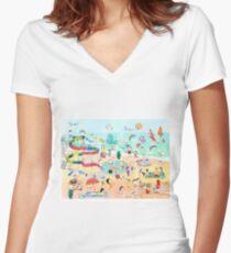 Wimmelbild Sommer am Strand Women's Fitted V-Neck T-Shirt