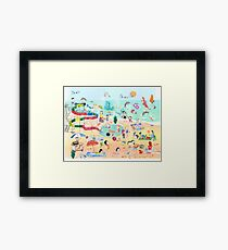 Wimmelbild Sommer am Strand Framed Print