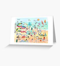 Wimmelbild Sommer am Strand Greeting Card