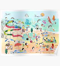 Wimmelbild Sommer am Strand Poster
