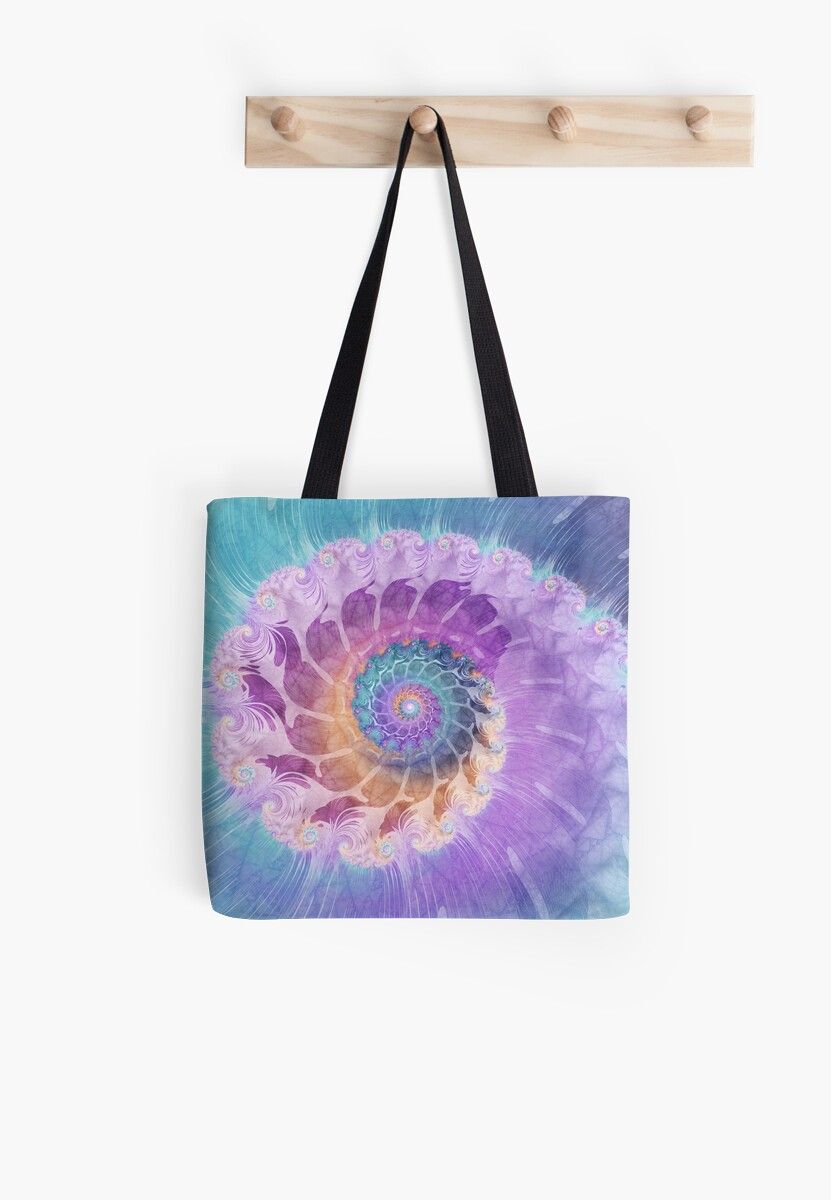 Painted Fractal Spiral in Turquoise, Purple and Orange by Kelly Dietrich
