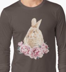 Watercolor Red Rabbit In Pink Peonies Illustration T-Shirt