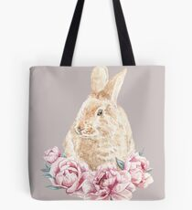 Watercolor Red Rabbit In Pink Peonies Illustration Tote Bag