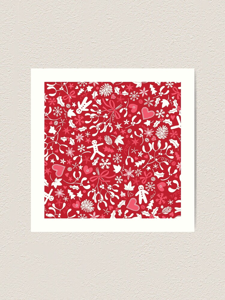 Alternate view of Mistletoe and Gingerbread Ditsy - Red, white and pink - Christmas pattern by Cecca Designs Art Print