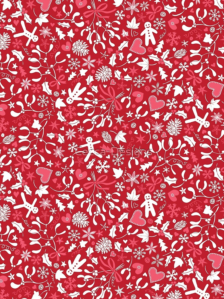 Mistletoe and Gingerbread Ditsy - Red, white and pink - Christmas pattern by Cecca Designs by Cecca-Designs