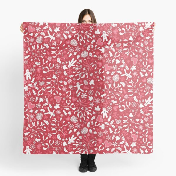 Mistletoe and Gingerbread Ditsy - Red, white and pink - Christmas pattern by Cecca Designs Scarf