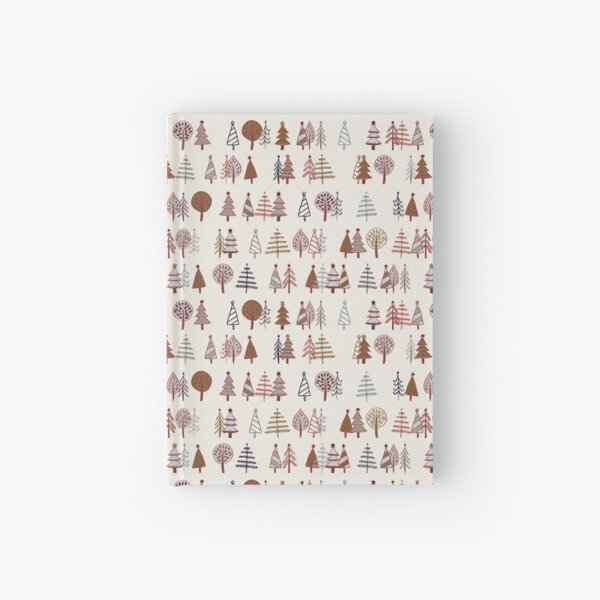 Gingerbread Trees - Gold, Silver and Copper on White - pretty winter pattern by Cecca Designs Hardcover Journal