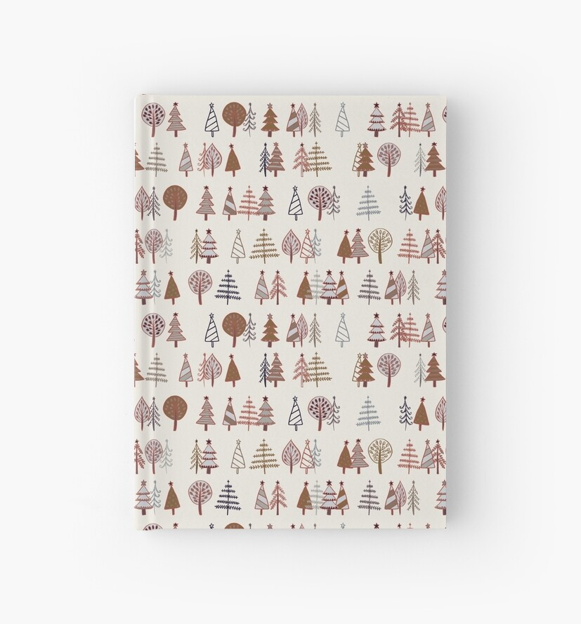 Gingerbread Trees - Gold, Silver and Copper on White - pretty winter pattern by Cecca Designs by Cecca-Designs