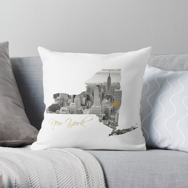 New York Map Cut Out  Throw Pillow