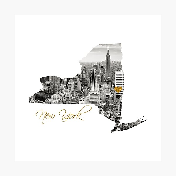 New York Map Cut Out  Photographic Print