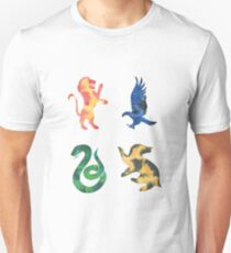 House Lion Snake Eagle Badger Watercolor T-Shirt