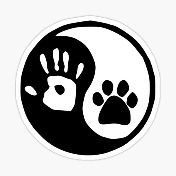 Dog Lover Gifts - Yin Yang Hand Paw - Adopt a Pet Gear for Cat & Animal Lovers - Humane Society Worker Gift Ideas Sticker