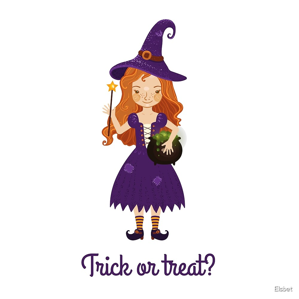 Little witch with a pot of potions. by Elsbet