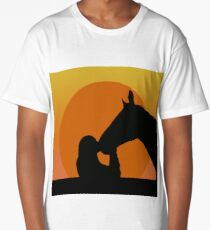Silhouettes of a girl kissing a horse Long T-Shirt