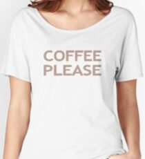 COFFEE PLEASE - strips - brown and white. Women's Relaxed Fit T-Shirt