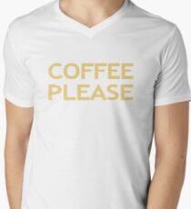 COFFEE PLEASE - strips - beige and white. T-Shirt