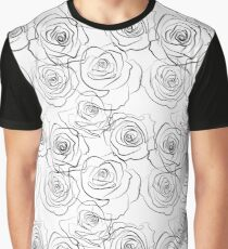 Black and wite roses pattern Graphic T-Shirt