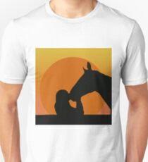 Silhouettes of a girl kissing a horse T-Shirt