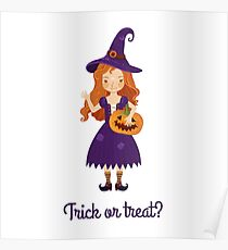 A little witch with a jack-pumpkin. Poster