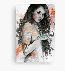 You Lied (erotic female portrait, nude girl with mandala mehndi tattoos) Canvas Print