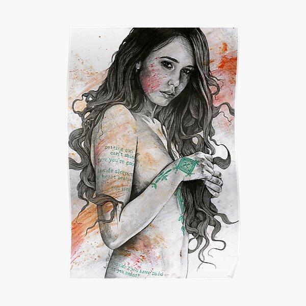 You Lied (portrait féminin érotique, fille nue avec des tatouages de mandala mehndi) Poster