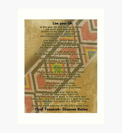 Lebe dein Leben, Chief Tecumseh Perlen auf Pergament Kunstdruck