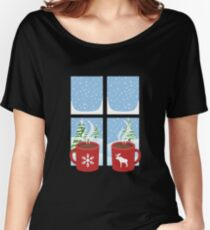 Snowflake and Moose Hot Chocolate Design for the Ski Lodge Women's Relaxed Fit T-Shirt