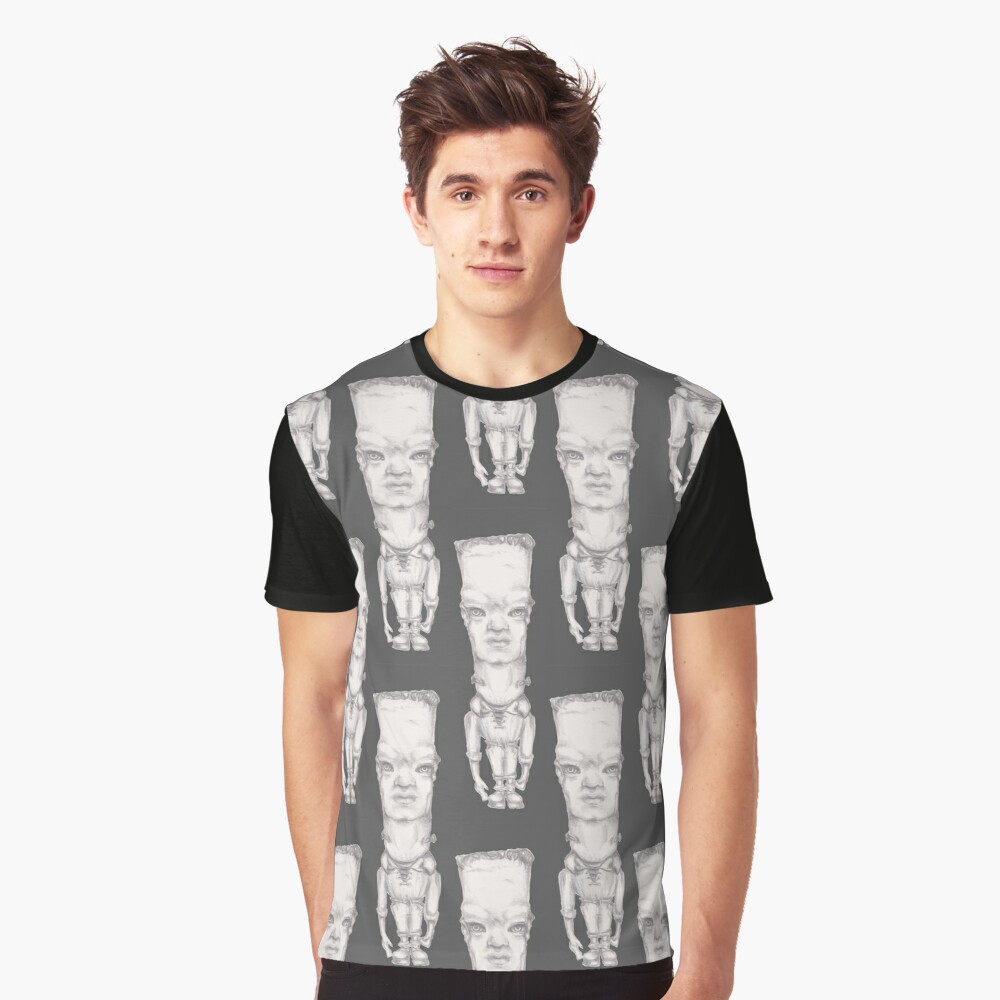 Big Headed Boy Grafik T-Shirt