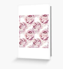 Watercolor Pink Peonies Greeting Card