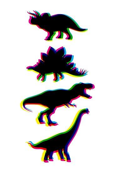 CMYK Dinosaurs (white) by animinimal