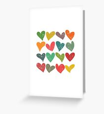 Hearts grunge pattern, colorful illustration Greeting Card